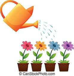 fleurs, arrosage, jardin, boîte