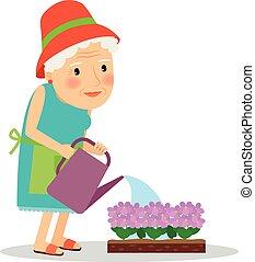 fleurs, arrosage, vieille femme