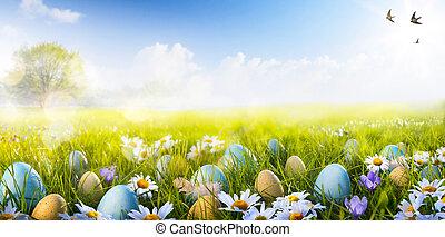 fleurs, art, coloré, oeufs, décoré, herbe, paques