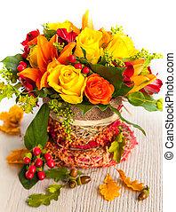 fleurs, automne, panier