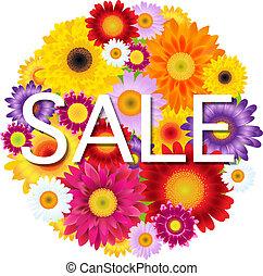fleurs, balle, vente, coloré, gerbers