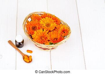 fleurs, basé, monde médical, préparations, herbs., calendula...