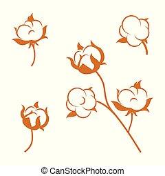fleurs blanches, arrière-plan., coton, ensemble, plante, isolé