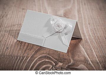 fleurs blanches, carte, invitation