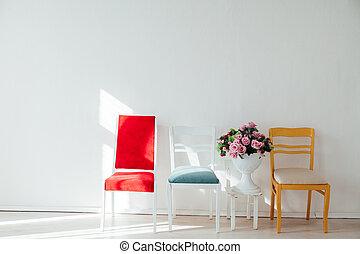 fleurs blanches, chaises, quatre, multicolore, fond