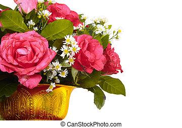 fleurs blanches, fond, coloré, vase
