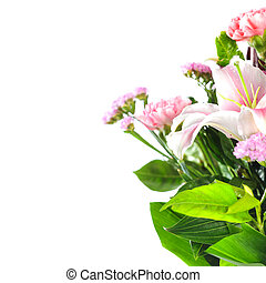 fleurs blanches, isolé, fond, tas