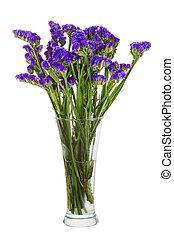 fleurs, bouquet, isolé, arrangement, milieu de table, arrière-plan., statice, blanc, vase, closeup.