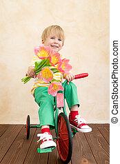 fleurs, bouquet, tenue, rigolote, enfant