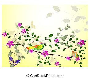 fleurs, branche arbre