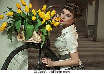 fleurs, brunette, beauté, tas