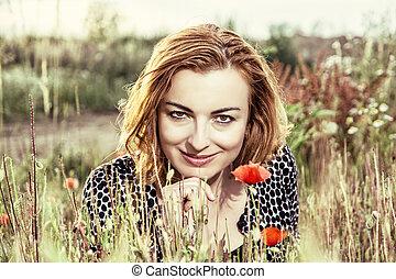 fleurs, brunette, photo, maïs, filtre, sexy, pavot