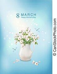 fleurs, céramique, cruche
