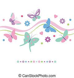 fleurs, cœurs, carte, papillons