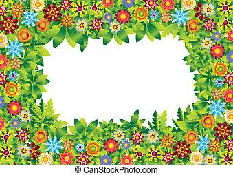 fleurs, cadre, vecteur, jardin