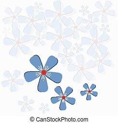 fleurs, card., salutation, délicat