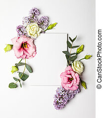 fleurs, carte, invitation