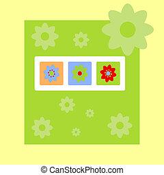 fleurs, carte, salutation, printemps