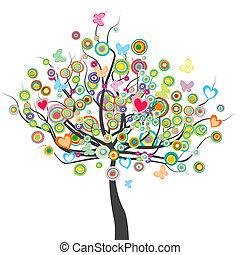 fleurs, cercle, arbre, papillons, forme, feuilles, coloré
