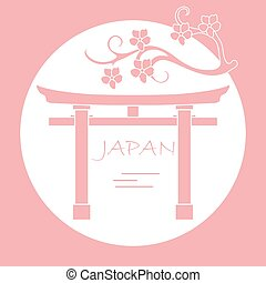 fleurs, cerise, gates., branche, rituel, torii
