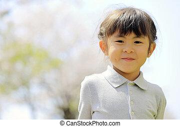 fleurs, cerise, japonaise, girl, (5, old), années
