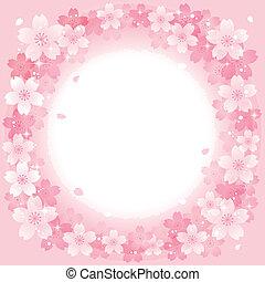 fleurs cerise, printemps, fond, rose, cercle