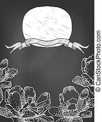 fleurs, chalkboard., cadre, ruban