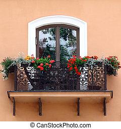 fleurs, classique, balcon