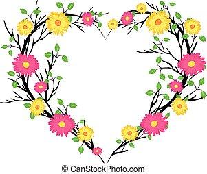 fleurs, coeur