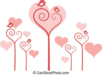 fleurs, coeur, vecteur, oiseaux