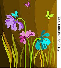 fleurs, coloré, papillons, résumé