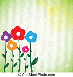 fleurs colorées, fond, printemps, beau