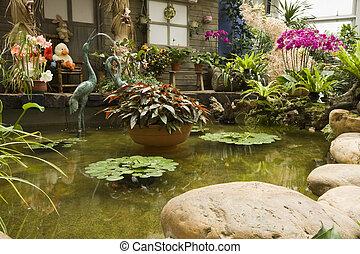 fleurs colorées, intérieur, printemps, jardin, beau