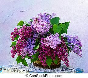 fleurs, composition, panier, beau
