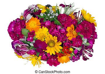 fleurs, concept, isolé, lit