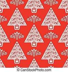 fleurs, conception, folklorique, flocons neige, style, noël, scandinave, arbre, oiseaux, pattern-, seamless, vecteur, art