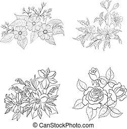 fleurs, contour, ensemble, cultivé