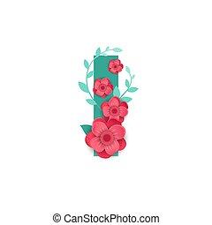 fleurs, couleur, lettre, beau