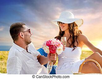 fleurs, couple, champagne, pique-nique, boire