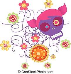 fleurs, crâne, 2