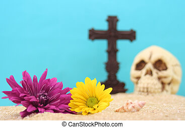 fleurs, crâne