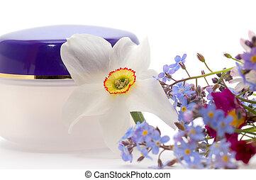 fleurs, crème cosmétique