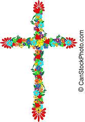 fleurs, croix
