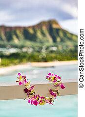 fleurs, culture., honolulu, collier, plumeria, fleur, waikiki, hawaien, voyage, polynésien, hawaï, recours, vrai, arrière-plan., montagne, fête, plage, lei, luau, paysage., hula, vacances