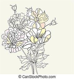 fleurs, décoratif, fond