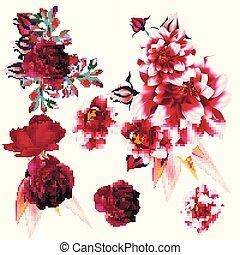 fleurs, détaillé, collection, vecteur