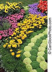 fleurs, dans, jardin