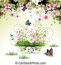 fleurs, dans, les, herbe