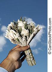 fleurs, dans, transmettre, ciel, fond