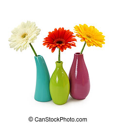 fleurs, dans, vases